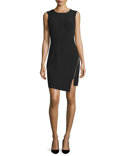Sleeveless Split-Hem Sheath Dress, Black