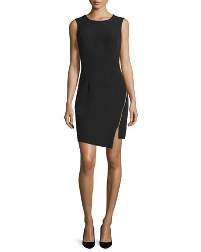 Sleeveless Split-Hem Sheath Dress, Black