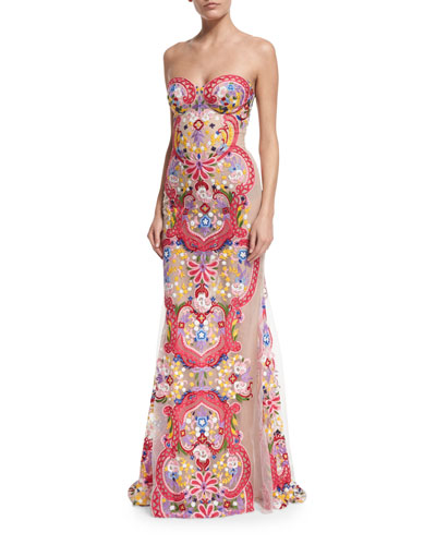 Strapless Embroidered Illusion Gown, White/Multi