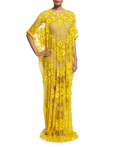 Half-Sleeve Floral-Embroidered Caftan, Yellow