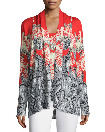 Floral & Paisley Printed Open Cardigan