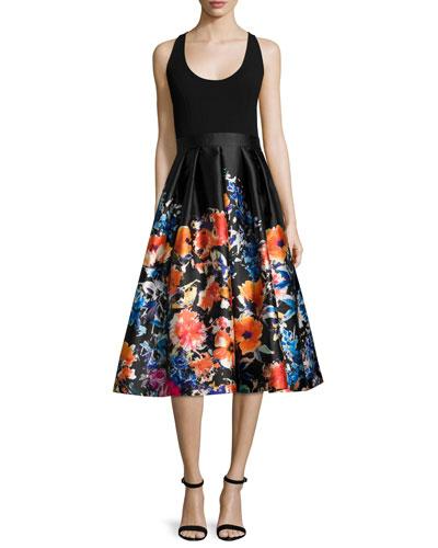 Sleeveless Combo Floral Midi Cocktail Dress