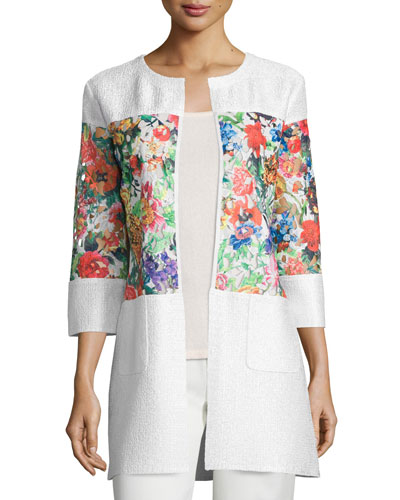Floral-Inset Crinkle Jacket, Plus Size