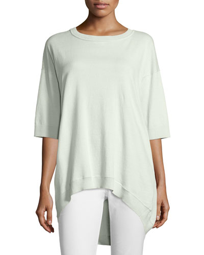 Half-Sleeve High-Low Top, Iced Mint