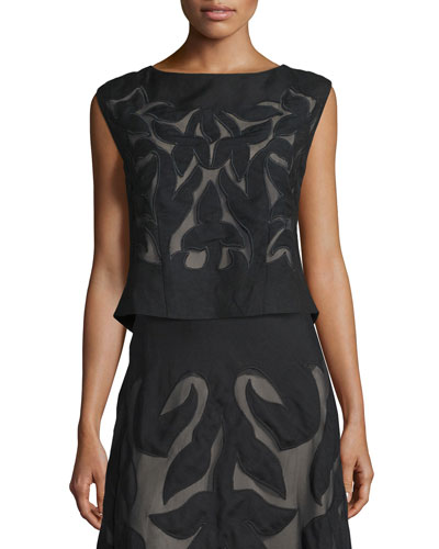 Special Edition Secret Garden Sleeveless Top, Black, Plus Size