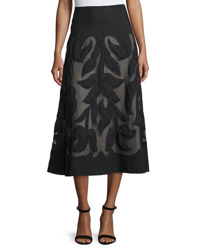Special Edition Secret Garden A-line Midi Skirt, Black, Petite