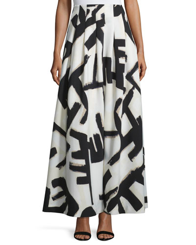 Graphic-Print Pleated Maxi Skirt