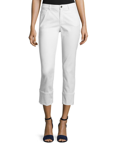 Thompson Curvy Cuffed Cropped Jeans, White