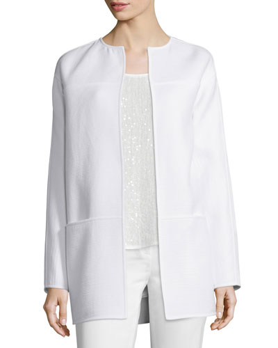 Maureen Ribbed Topper Jacket, White