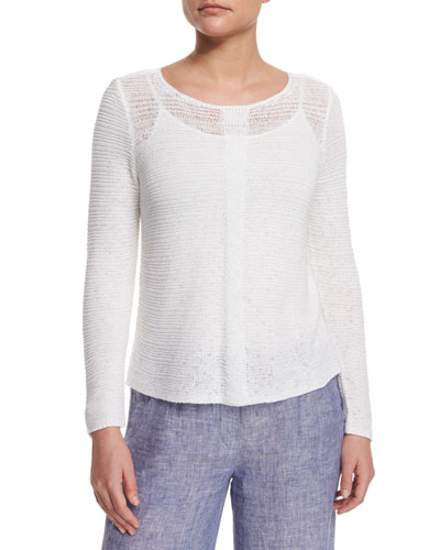 Long-Sleeve Sheer Illusion Sweater Top, Petite