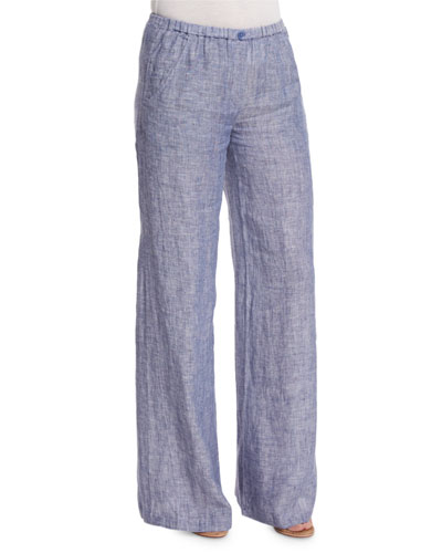 Drifty Linen Wide-Leg Pants, Indigo Mix