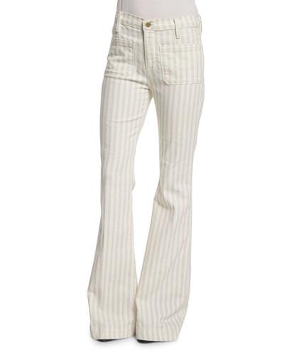 Le Bardot Striped Flare-Leg Jeans, Cypress