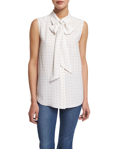 Le Scarf Sleeveless Dot-Print Blouse, Blanc Dot