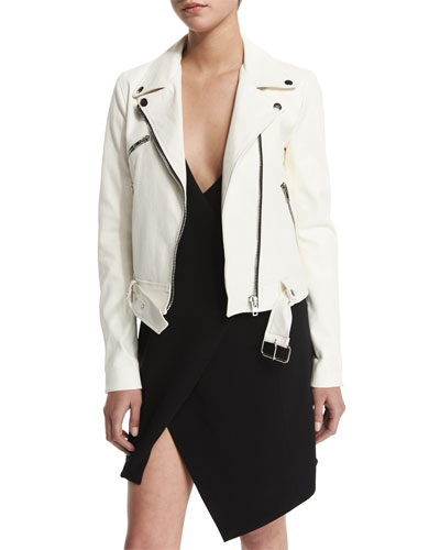 Belted Zip-Front Leather Jacket, White