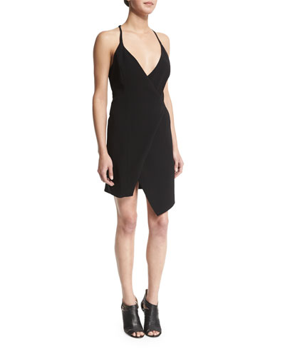 Sleeveless V-Neck Split-Hem Dress, Black