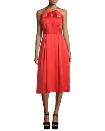 Sleeveless Pleated-Bodice Dress, Poppy Red