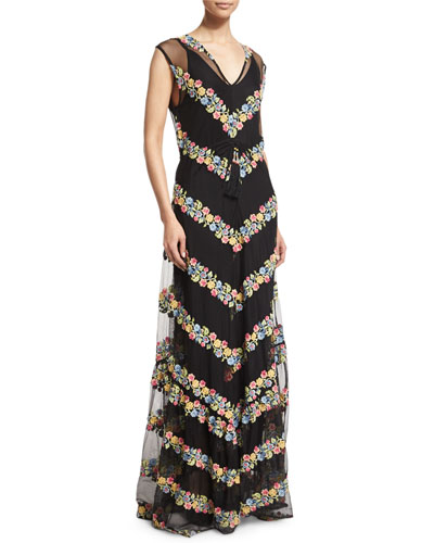 Sakile Floral-Chevron Maxi Dress, Black