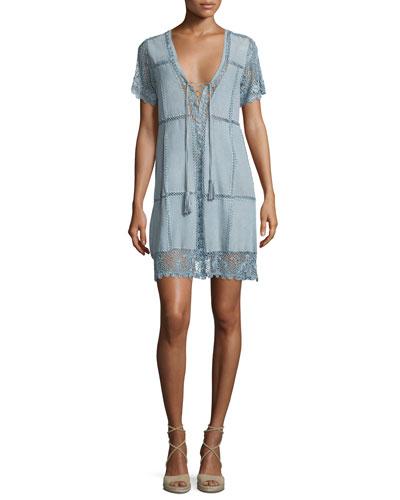 Hydaspe Short-Sleeve Lace-Up Dress, Prana