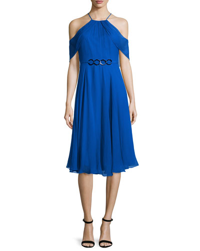 Cold-Shoulder Draped-Sleeve Dress, Cobalt