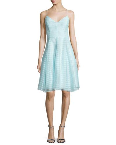 Sleeveless Textured-Stripe Dress, Foam