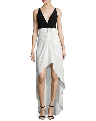 Sleeveless Colorblock Knot-Waist Dress, Eggshell/Black