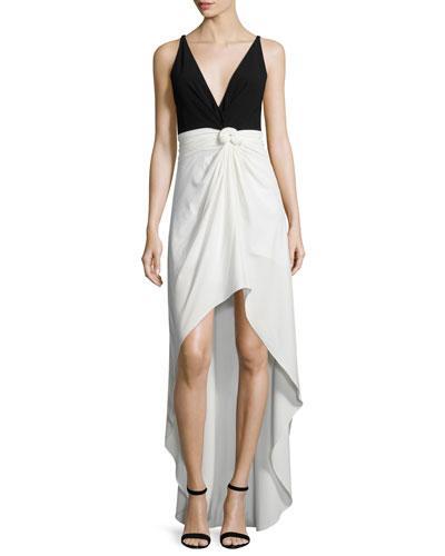 Sleeveless Colorblock Knot-Waist Dress, Eggshell/Black