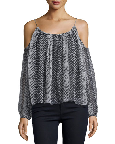Maylin Cold-Shoulder Ikat Blouse, Black/Ivory
