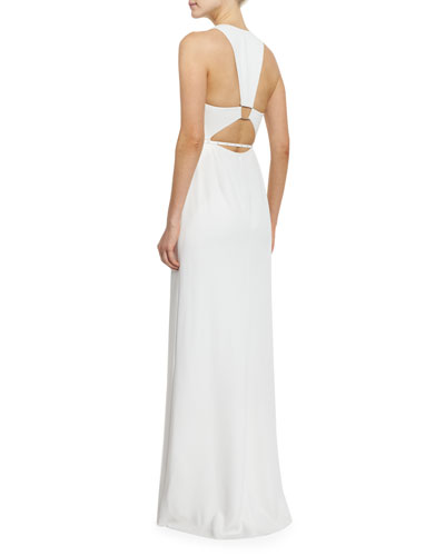 Sleeveless Trapeze-Back Gown, Linen White