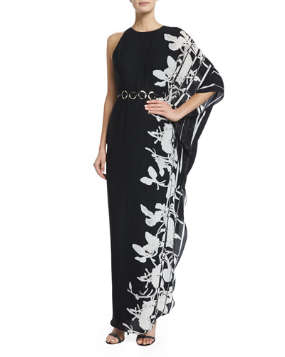 One-Sleeve Printed Caftan Gown, Black/Oyster Orchid