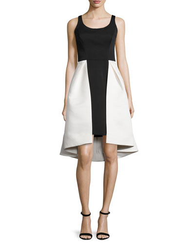 Sleeveless Two-Tone Dress, Eggshell/Black