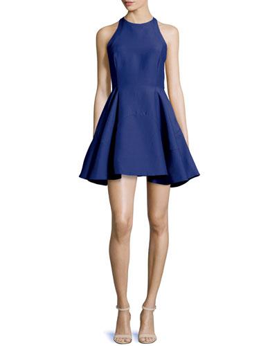 Sleeveless Jewel-Neck Party Dress, Cobalt
