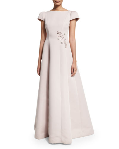 Short-Sleeve Embroidered Ball Gown, Blush