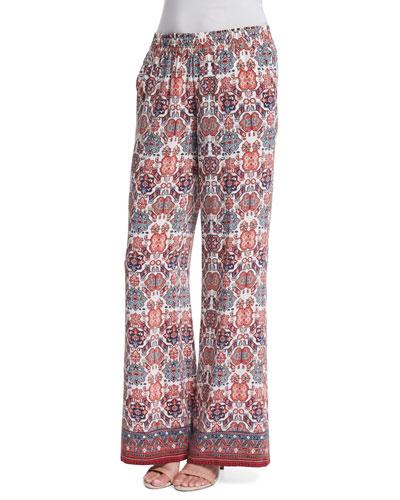 Aryn Folkloric Printed Silk Pants