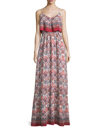 Florina Folkloric Silk Maxi Dress, Burnt Coral