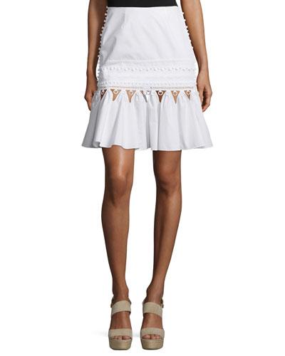 Cutout Track Skirt, White