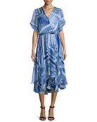 Dominica Short-Sleeve V-Neck Dress, Blue Pattern