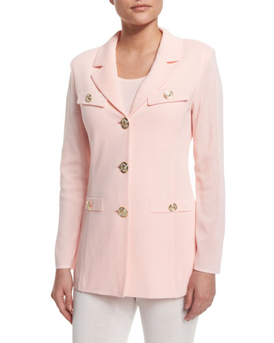 Dressed Up Button-Front Jacket, Rose Water, Petite
