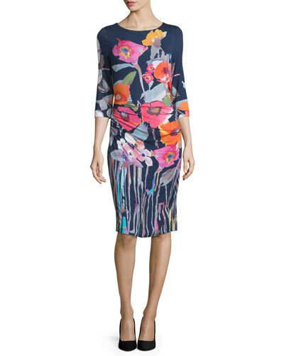 3/4-Sleeve Floral-Print Sheath Dress, Multi Colors