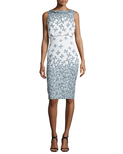 Sleeveless Cowl-Neck Printed Cocktail Dress, Ivory/Black
