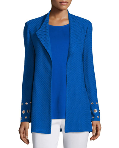 Petite Long Knit Jacket with Grommet Detail