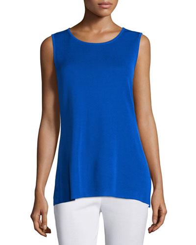 Petite Crewneck Long Knit Tank Top, True Blue