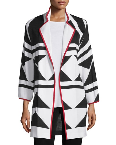 Long Graphic Jacket with Piping, Tricolor, Plus Size