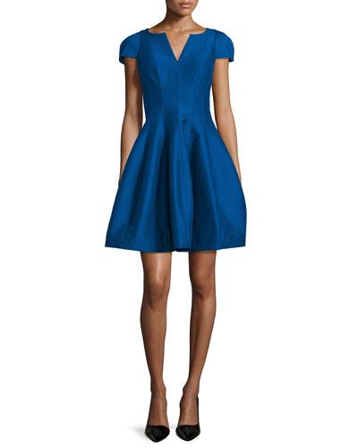 Tulip-Skirt Split-Neck Party Dress, Cobalt
