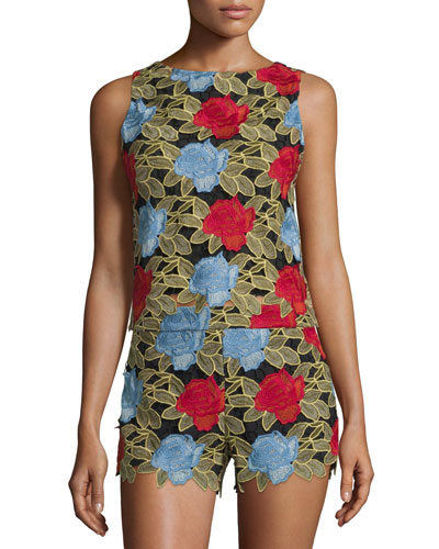 Amal Sleeveless Lace Boxy Top, Multicolor