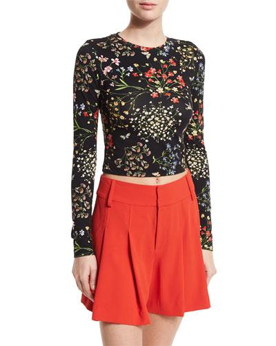 Delaina Floral Cropped Top, Black/Multicolor