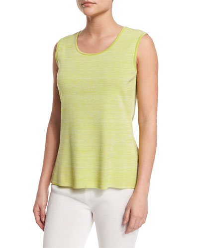 Melange Knit Tank, Sour Apple/White, Petite