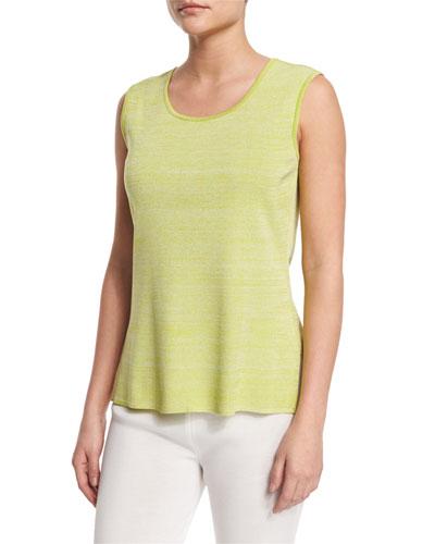 Melange Knit Tank, Sour Apple/White, Plus Size