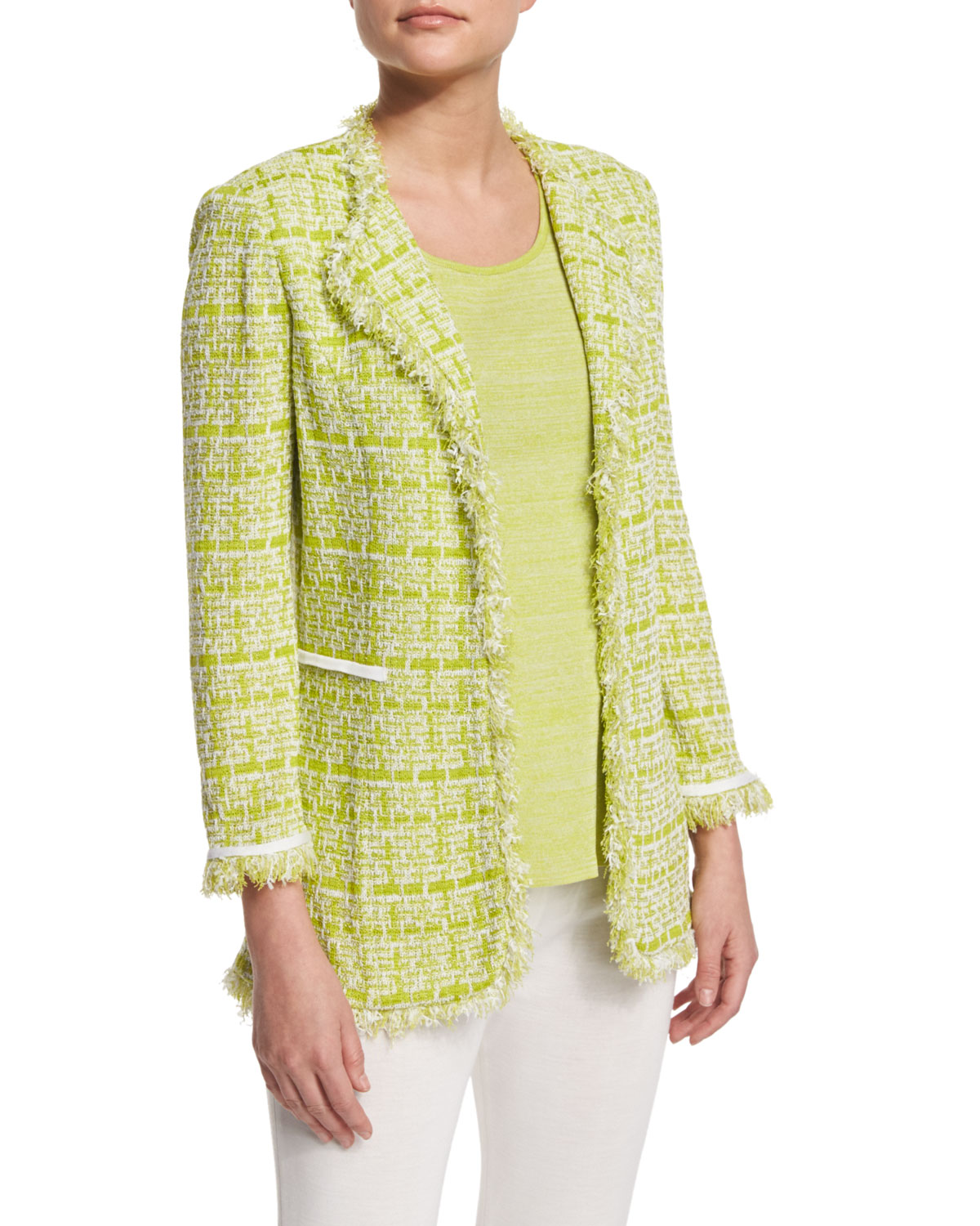Tweed Jacket with Fringe Trim, Plus Size