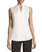 Sleeveless Stretch-Cotton Shirt, Petite