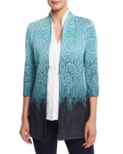 Ombre 3/4-Sleeve Jacket, Plus Size